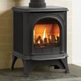 gas huntingdon stove with clear door in matt black