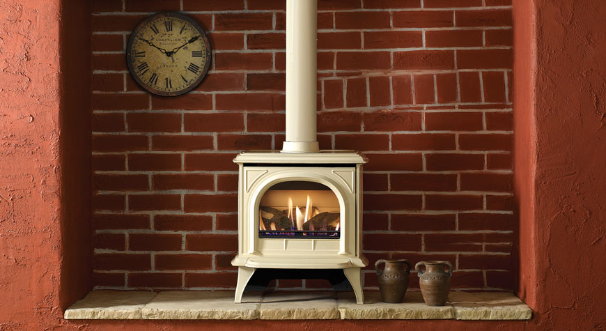 gazco huntingdon 30 in ivory enamel clear door with log effect fire