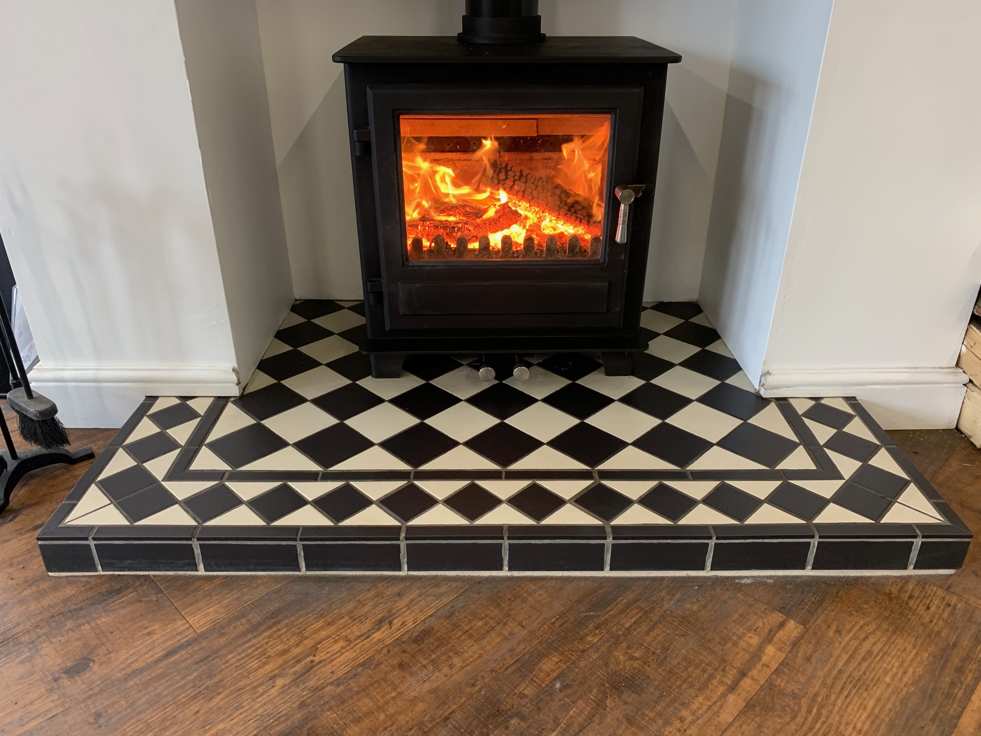 Harlequin Tiled Hearth Yorkshire Stoves Fireplaces