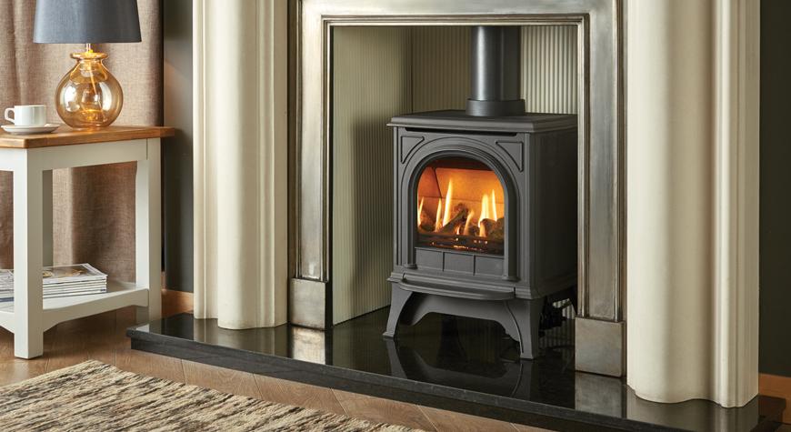 huntingdon 20 gas fire in matt black