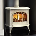 gazco huntingdon 40 gas with tracery door in matt ivory