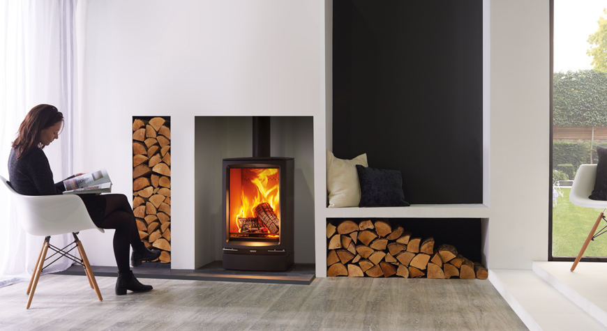 stovax vogue midi wood burning stove with optional plinth