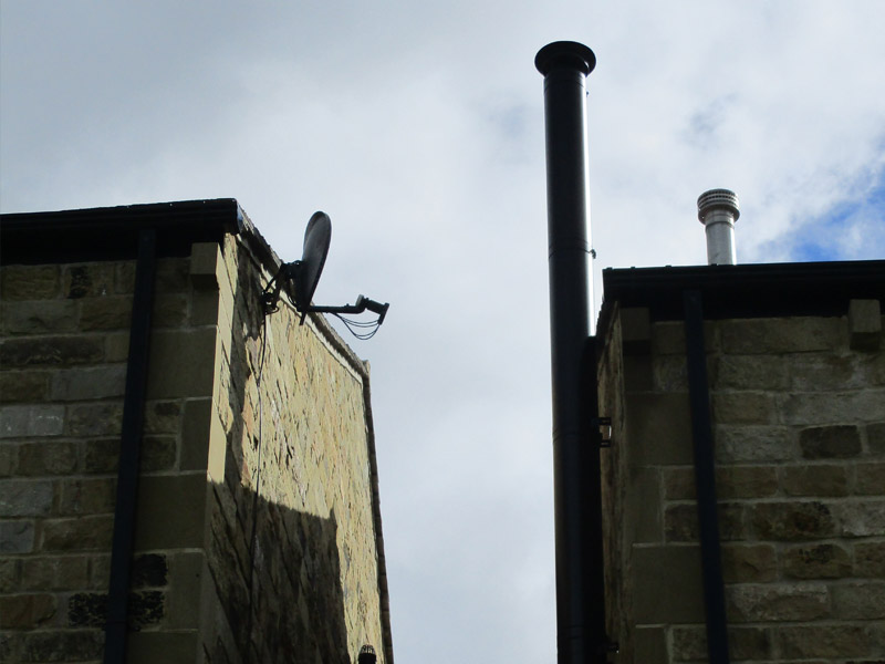 twinwall flue system on gable end