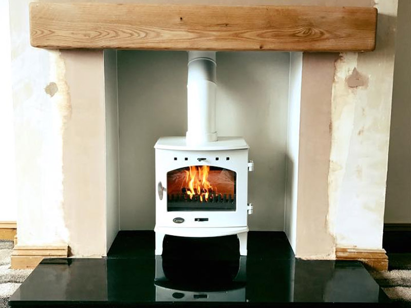 carron 5kw stove in cream enamel