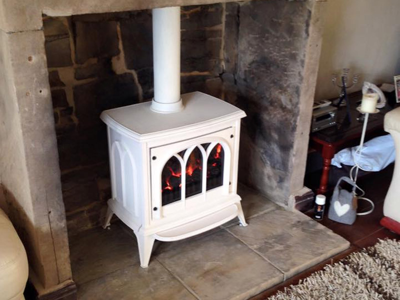 white wood burning stove