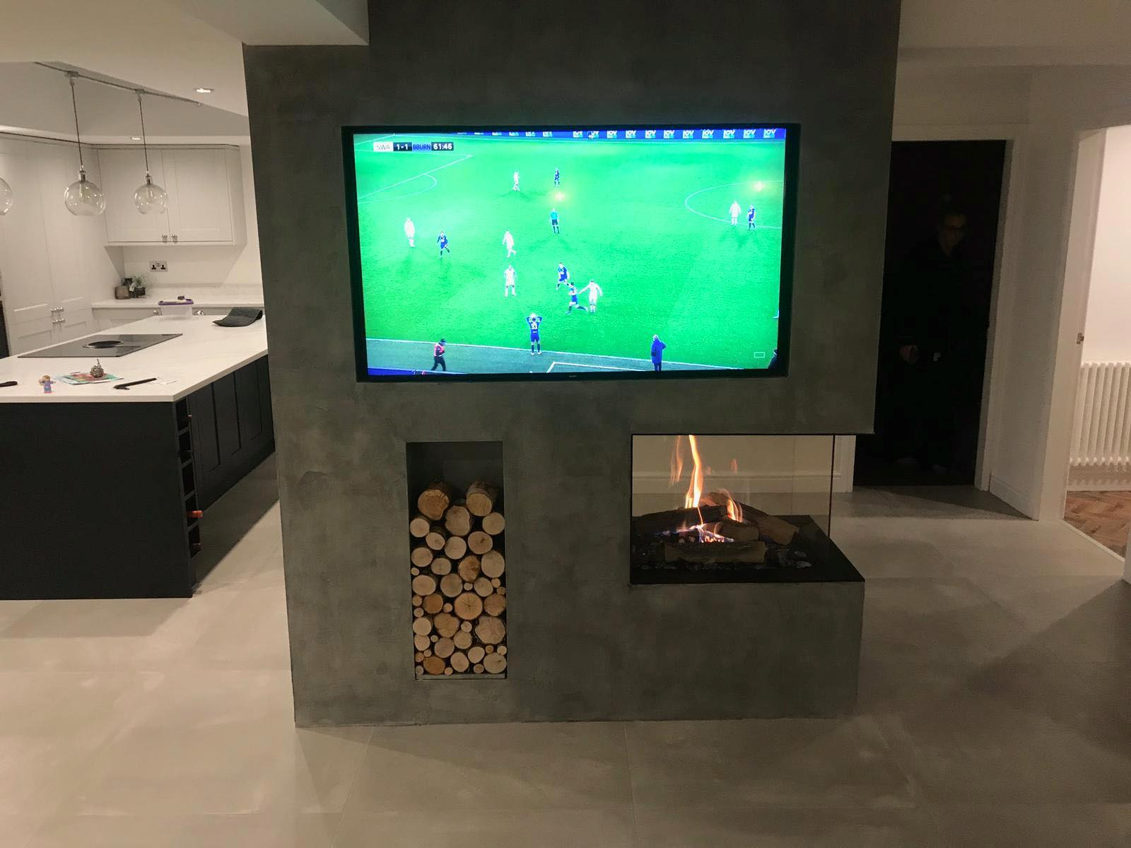 RAIS room divider gas fire